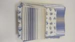 Completo Lenzuola Lettino 3 Pz Blu E Bianco Con Conigli