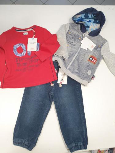 Nuovo Completo OM Con Cartellino 12/18 Mesi: Maglia + Felpa + Jeans - Idea Regalo