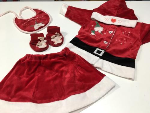 Completo Natale Bimba 6 Mesi Giacca + Gonna + Bavaglino + Babbucce