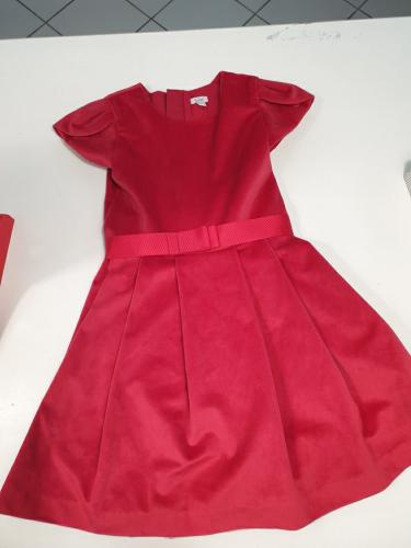 Vestito Rosso Natale Vellutato 5/6 Anni Bimba