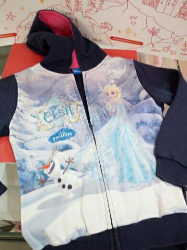 Felpa C/capp.Bimba Blù Elsa Frozen 10anni Disney