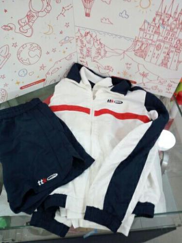 Tuta Sportiva Tennis Tecnica Bianca Blu Pantalone Corto 11/13 A Ttk 3pz