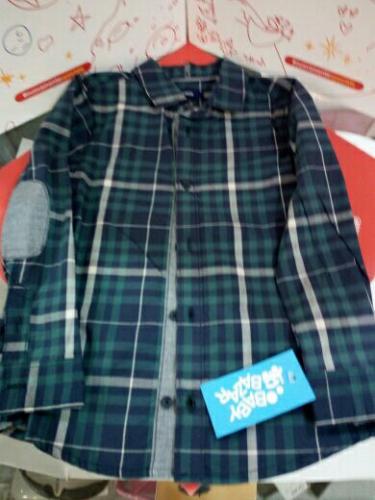 Camicia Bimbo Quadretti Blu/verdi 5 A Okaidi