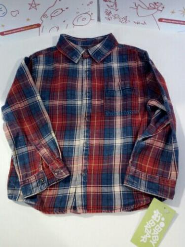 Camicia Bimbo Scozzese Blu/rosso 3/4 A Zara